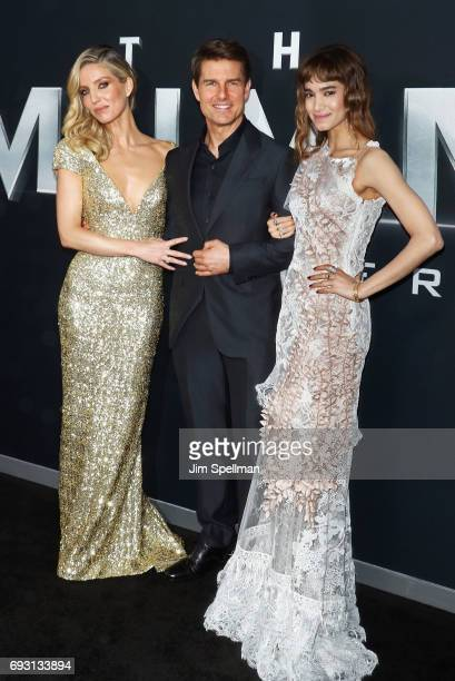 Actors Annabelle Wallis Tom Cruise and Sofia Boutella attend 'The Mummy' New York fan event at AMC Loews Lincoln Square on June 6 2017 in New York...