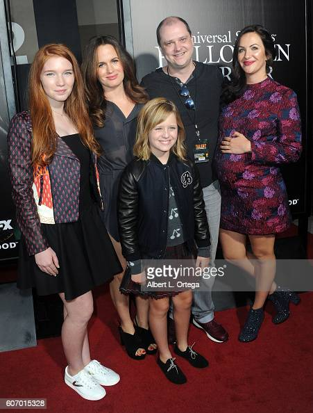 Actors Annalise Basso Lulu Wilson Elizabeth Reaser director Mike Flanagan and actress Kate Siegel arrives for Universal Studios Hollywood Opening...