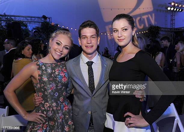 Actors AnnaSophia Robb Liam James and Zoe Levin attend the premiere of Fox Searchlight Pictures' 'The Way Way Back' after party at LA Live Event Deck...
