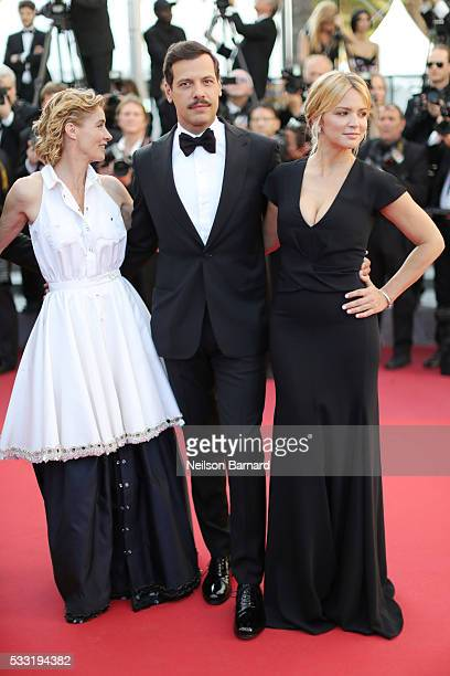 Actors Anne Consigny Laurent Laffite and Virginie Efira attend the 'Elle' Premiere during the 69th annual Cannes Film Festival at the Palais des...