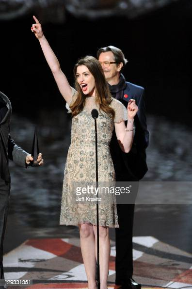 Actors Anne Hathaway and Gary Oldman onstage during Spike TV's 'Scream 2011' at Universal Studios on October 15 2011 in Universal City California