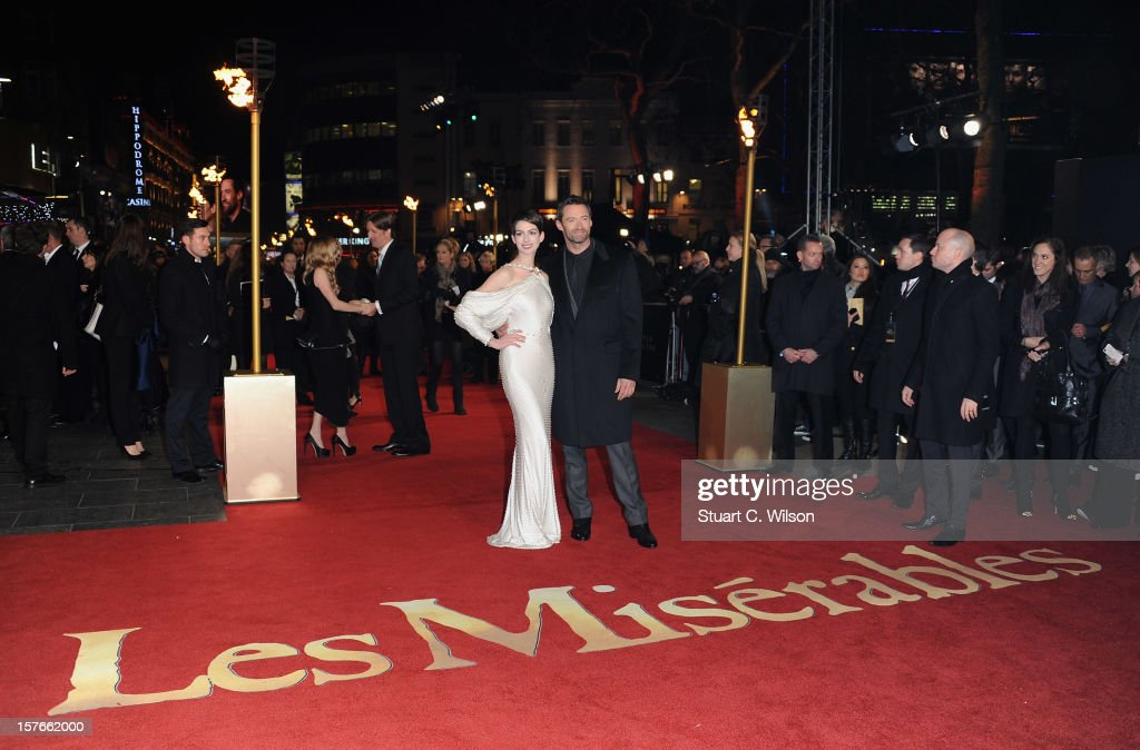 Actors Anne Hathaway and Hugh Jackman attend the 'Les Miserables' World Premiere at the Odeon Leicester Square on December 5, 2012 in London, England.