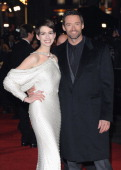 Actors Anne Hathaway and Hugh Jackman attend the 'Les Miserables' World Premiere at the Odeon Leicester Square on December 5 2012 in London England