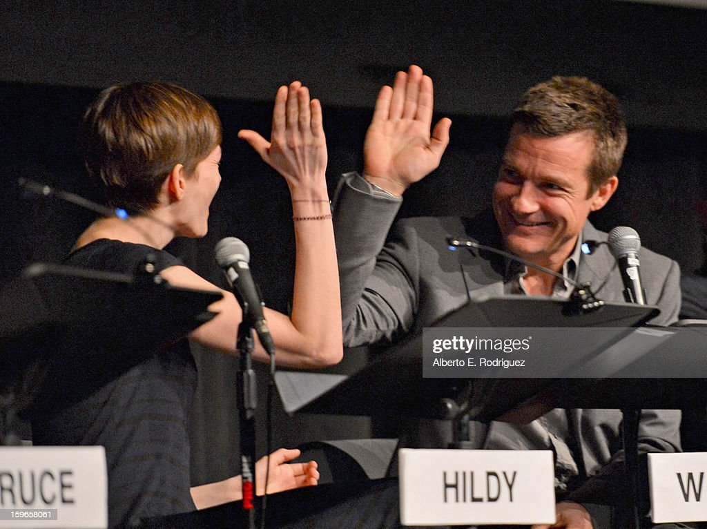 Actors Anne Hathaway and Jason Bateman attend a Film Independent live read at Bing Theatre At LACMA on January 17, 2013 in Los Angeles, California.