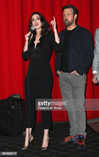 Actors Anne Hathaway and Jason Sudeikis attend the Premiere Of Neon's 'Colossal' at the Vista Theatre on April 4 2017 in Los Angeles California