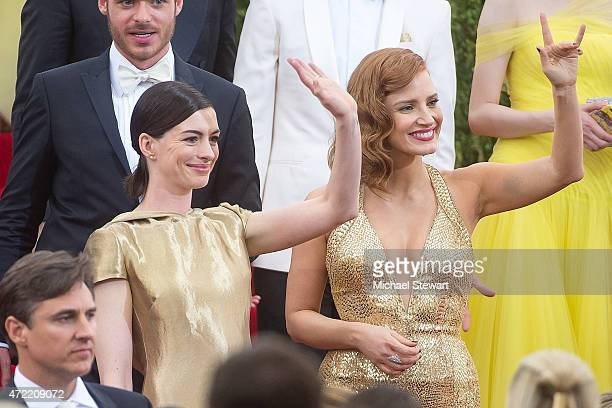 Actors Anne Hathaway and Jessica Chastain attend the 'China Through The Looking Glass' Costume Institute Benefit Gala at Metropolitan Museum of Art...