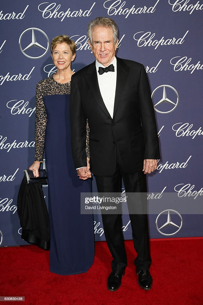 Actors Annette Bening (L) and Warren Beatty arrive at the 28th Annual Palm Springs International Film Festival Film Awards Gala at the Palm Springs Convention Center on January 2, 2017 in Palm Springs, California.