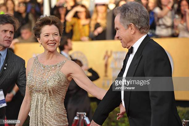 Actors Annette Bening and Warren Beatty arrive at the TNT/TBS broadcast of the 17th Annual Screen Actors Guild Awards held at The Shrine Auditorium...
