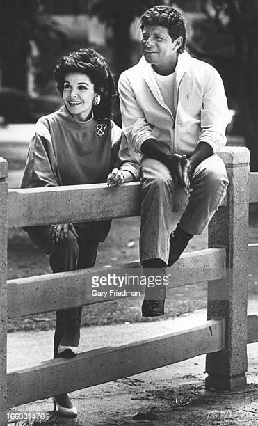 Actors Annette Funicello and Frankie Avalon are photographed for Los Angeles Times on July 1 1987 in Santa Monica California PUBLISHED IMAGE CREDIT...