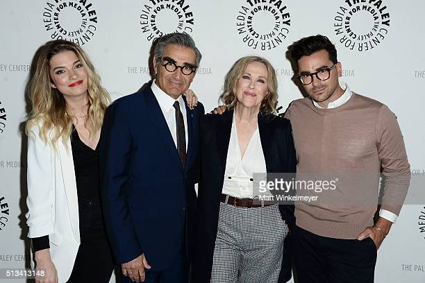 Actors Annie Murphy Eugene Levy Catherine O'Hara and Daniel Levy attend the Paley Center for Media presents An Evening with 'Schitt's Creek' at The...
