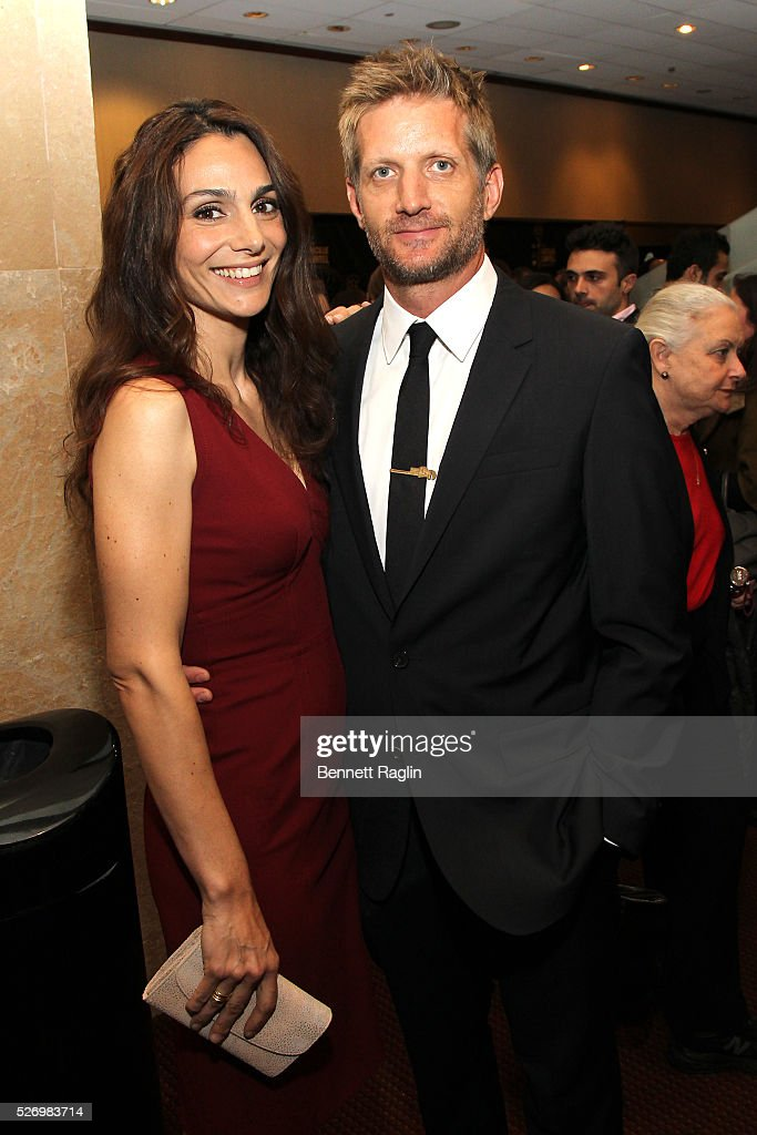 Actors Annie Parisse and Paul Sparks arrive at the 31st Annual Lucille Lortel Awards at NYU Skirball Center on May 1, 2016 in New York City.