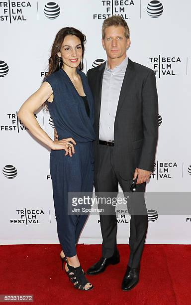 Actors Annie Parisse and Paul Sparks attend the Tribeca Tune In 'The Night Of' during the 2016 Tribeca Film Festival at SVA Theatre on April 22 2016...