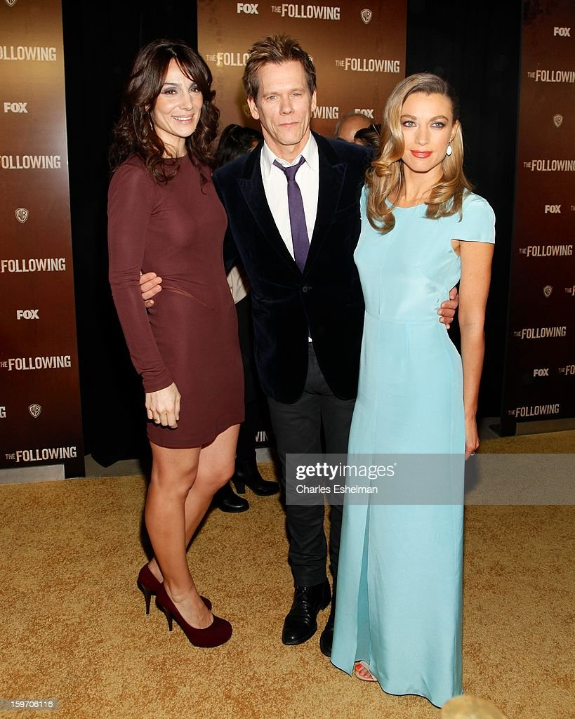 Actors Annie Parisse, Kevin Bacon and Natalie Zea attend 'The Following' premiere at The New York Public Library on January 18, 2013 in New York City.