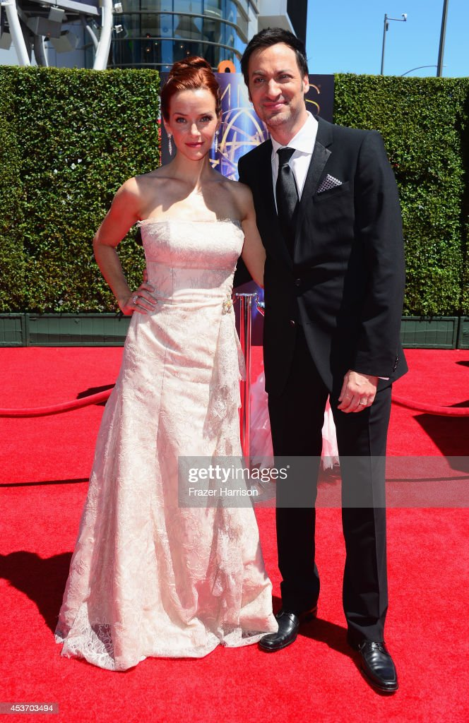 Actors Annie Wersching (L) and Stephen Full attend the 2014 Creative Arts Emmy Awards at Nokia Theatre L.A. Live on August 16, 2014 in Los Angeles, California.