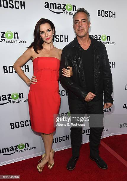 Actors Annie Wersching and Titus Welliver arrive for the red carpet premiere screening for Amazon's first original drama series 'Bosch' at The Dome...