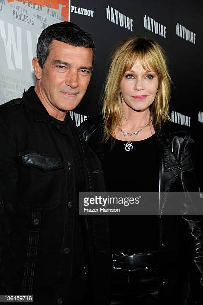 Actors Anotnio Banderas and Melanie Griffith arrive at Relativity Media's premiere of 'Haywire' cohosted by Playboy held at DGA Theater on January 5...