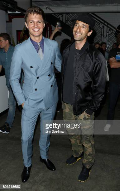 Actors Ansel Elgort Adrien Brody attend the screening of 'Baby Driver' hosted by TriStar Pictures with The Cinema Society and Avion at The Metrograph...