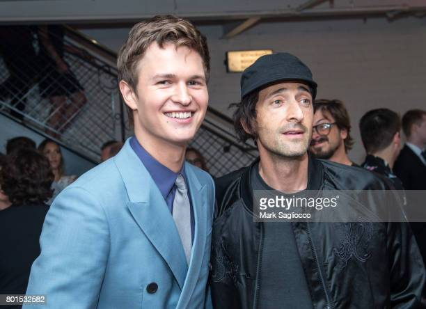 Actors Ansel Elgort and Adrien Brody attend TriStar Pictures The Cinema Society and Avion's screening of 'Baby Driver' at The Metrograph on June 26...