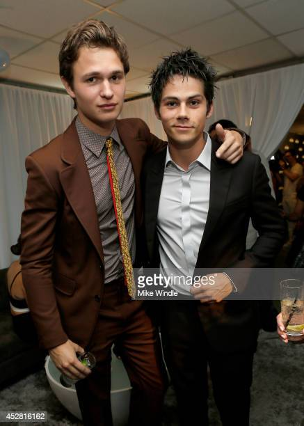 Actors Ansel Elgort and Dylan O'Brien in the green room at the 2014 Young Hollywood Awards brought to you by Samsung Galaxy at The Wiltern on July 27...