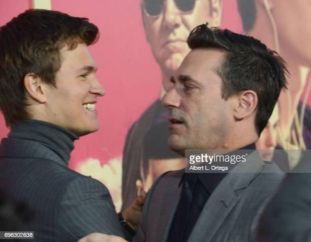 Actors Ansel Elgort and Jon Hamm arrive for the Premiere Of Sony Pictures' 'Baby Driver' held at Ace Hotel on June 14 2017 in Los Angeles California