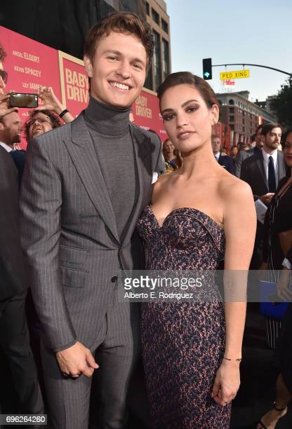Actors Ansel Elgort and Lily James attend the premiere of Sony Pictures' 'Baby Driver' at Ace Hotel on June 14 2017 in Los Angeles California
