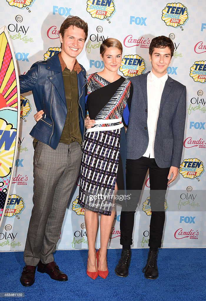 Actors Ansel Elgort, Shailene Woodley and Nat Wolff attend FOX's 2014 Teen Choice Awards at The Shrine Auditorium on August 10, 2014 in Los Angeles, California.