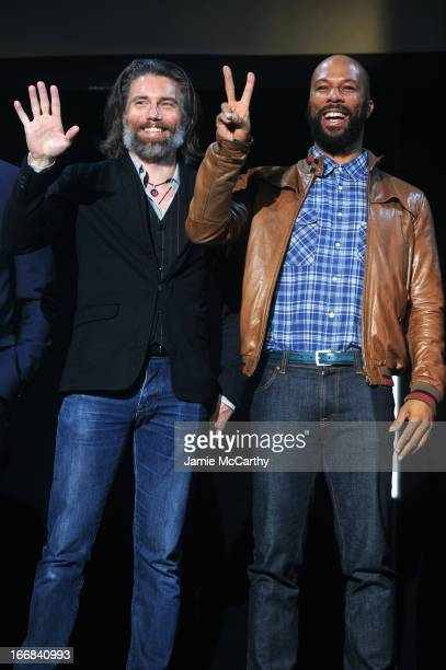 Actors Anson Mount and Common attend the AMC Upfront 2013 at the 69th Regiment Armory on April 17 2013 in New York City