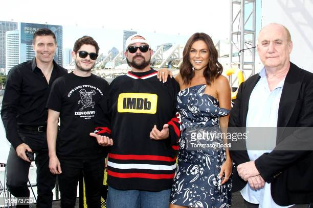 Actors Anson Mount Iwan Rheon host Kevin Smith actor Serinda Swan and writer Jeph Loeb at the #IMDboat At San Diego ComicCon 2017 at The IMDb Yacht...