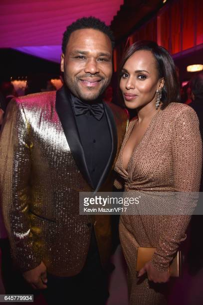 Actors Anthony Anderson and Kerry Washington attend the 2017 Vanity Fair Oscar Party hosted by Graydon Carter at Wallis Annenberg Center for the...