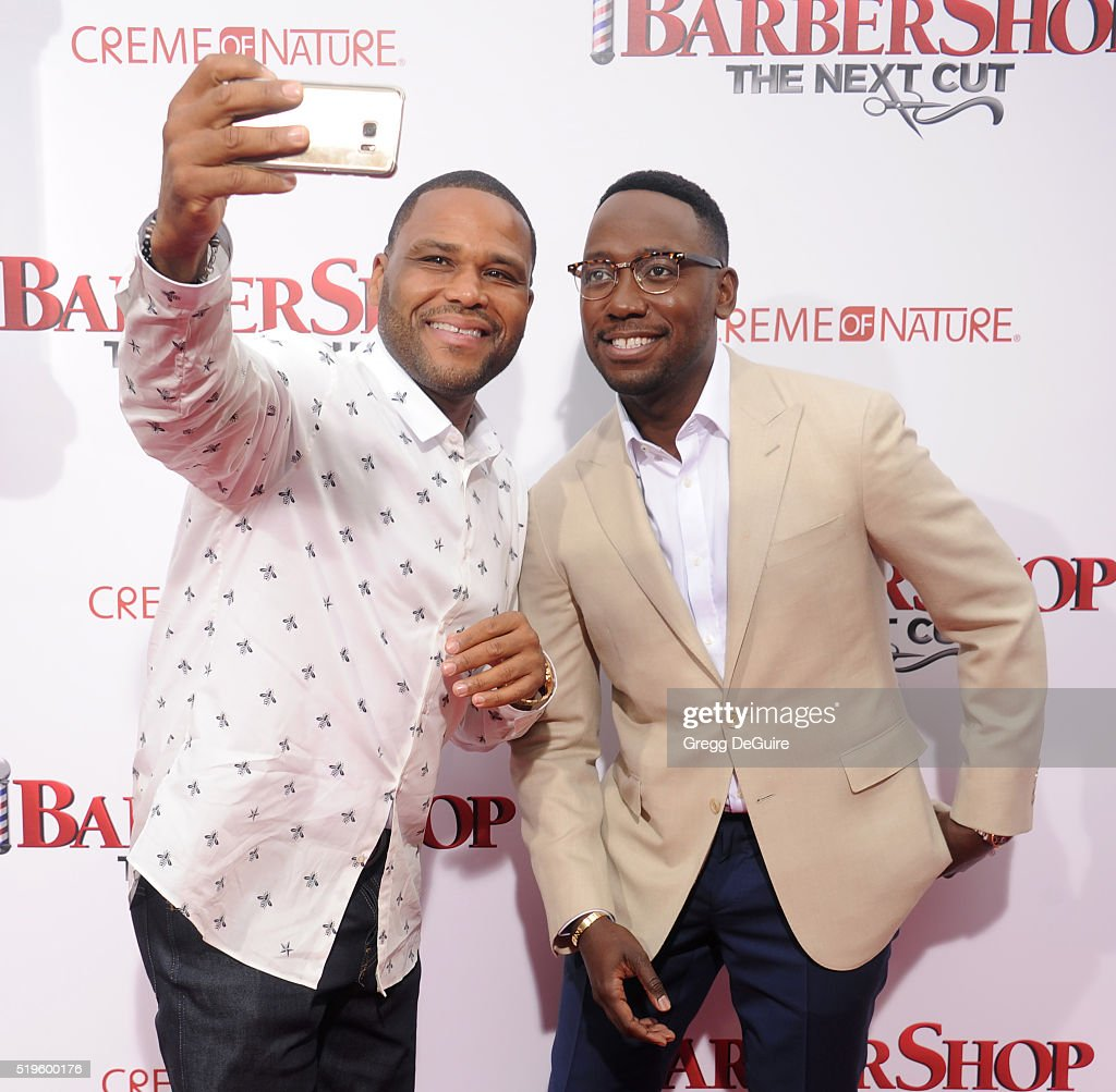 Actors Anthony Anderson and Lamorne Morris arrive at the premiere of New Line Cinema's 'Barbershop The Next Cut' at TCL Chinese Theatre on April 6...