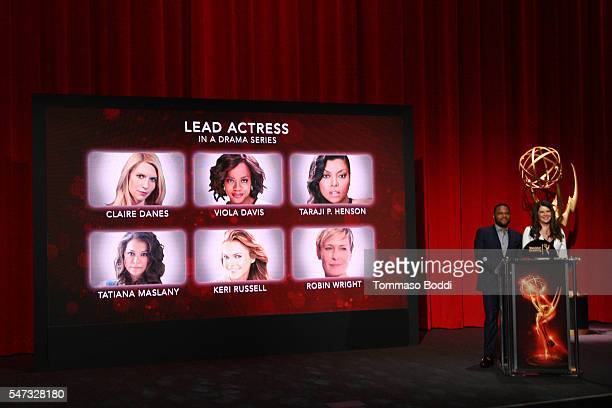 Actors Anthony Anderson and Lauren Graham present the 68th Emmy Awards Nominations Announcement held at the Saban Media Center on July 14 2016 in...