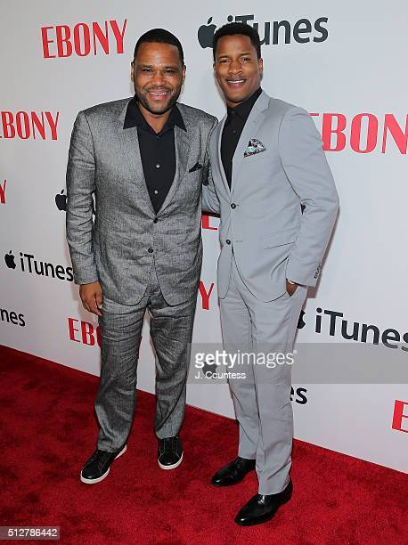 Actors Anthony Anderson and Nate Parker attend the Ebony Magazine And Apple Celebrate Black Hollywood party at NeueHouse Hollywood on February 27...