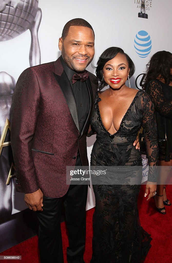 Actors Anthony ANderson and Naturi Naughton attend the 47th NAACP Image Awards presented by TV One at Pasadena Civic Auditorium on February 5 2016 in...