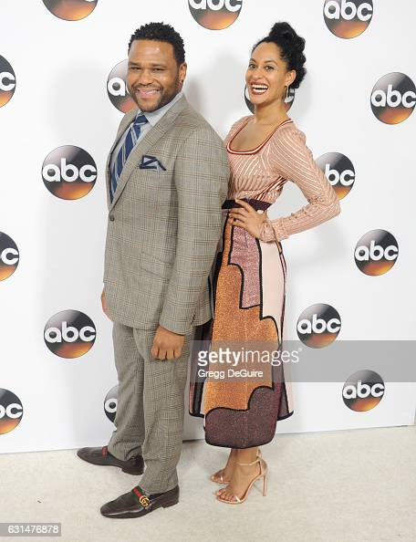 Actors Anthony Anderson and Tracee Ellis Ross arrive at the 2017 Winter TCA Tour Disney/ABC at the Langham Hotel on January 10 2017 in Pasadena...