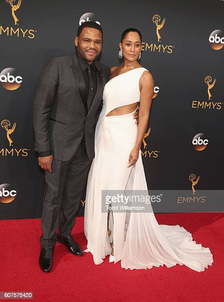 Actors Anthony Anderson and Tracee Ellis Ross attend the 68th Annual Primetime Emmy Awards at Microsoft Theater on September 18 2016 in Los Angeles...