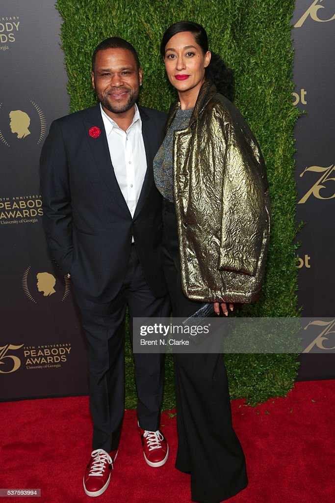 Actors Anthony Anderson and Tracee Ellis Ross attend the 75th Annual Peabody Awards Ceremony held at Cipriani Wall Street on May 21 2016 in New York...