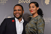 Actors Anthony Anderson and Tracee Ellis Ross pose with award during The 75th Annual Peabody Awards Ceremony at Cipriani Wall Street on May 21 2016...