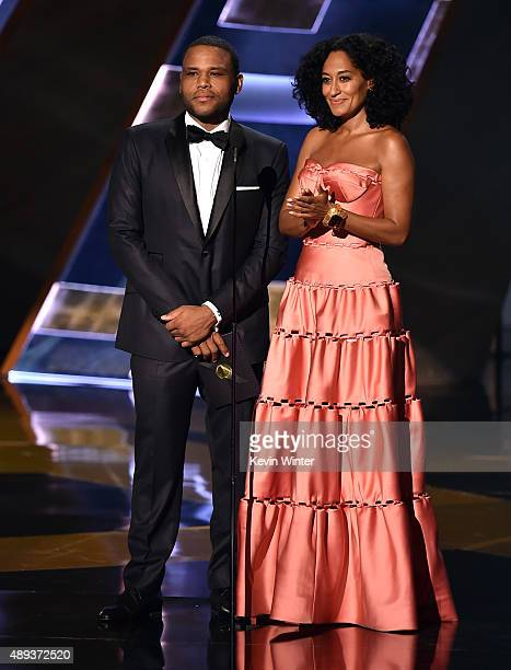 Actors Anthony Anderson and Tracee Ellis Ross speak onstage during the 67th Annual Primetime Emmy Awards at Microsoft Theater on September 20 2015 in...