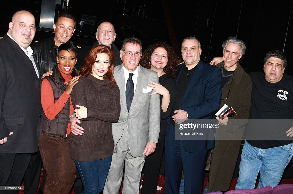 Actors Anthony Desio, Brenda Braxton, Tony Darrow, <a gi-track='captionPersonalityLinkClicked' href=/galleries/search?phrase=Dominic+Chianese&family=editorial&specificpeople=175942 ng-click='$event.stopPropagation()'>Dominic Chianese</a>, Michelle DeJean, Frank Pellegrino, <a gi-track='captionPersonalityLinkClicked' href=/galleries/search?phrase=Aida+Turturro&family=editorial&specificpeople=214547 ng-click='$event.stopPropagation()'>Aida Turturro</a>, Vince Curatola, Jeff McCarthy and <a gi-track='captionPersonalityLinkClicked' href=/galleries/search?phrase=Vincent+Pastore&family=editorial&specificpeople=215270 ng-click='$event.stopPropagation()'>Vincent Pastore</a> as they visit backstage at 'Chicago' on Broadway at The Ambassador Theater on January 6, 2008 in New York City.