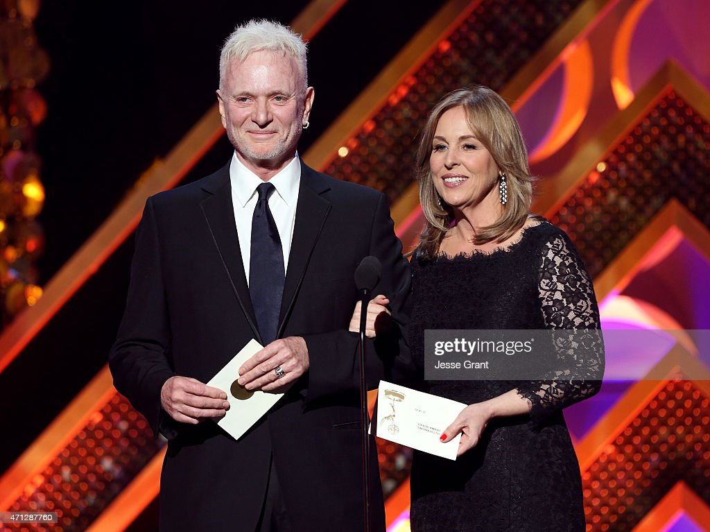 Actors Anthony Geary and Genie Francis speak onstage during The 42nd Annual Daytime Emmy Awards at Warner Bros Studios on April 26 2015 in Burbank...