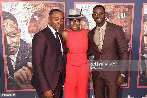 Actors Anthony Mackie Aisha Hinds and Mo McRae attend the 'All The Way' Los Angeles Premiere at Paramount Studios on May 10 2016 in Hollywood City