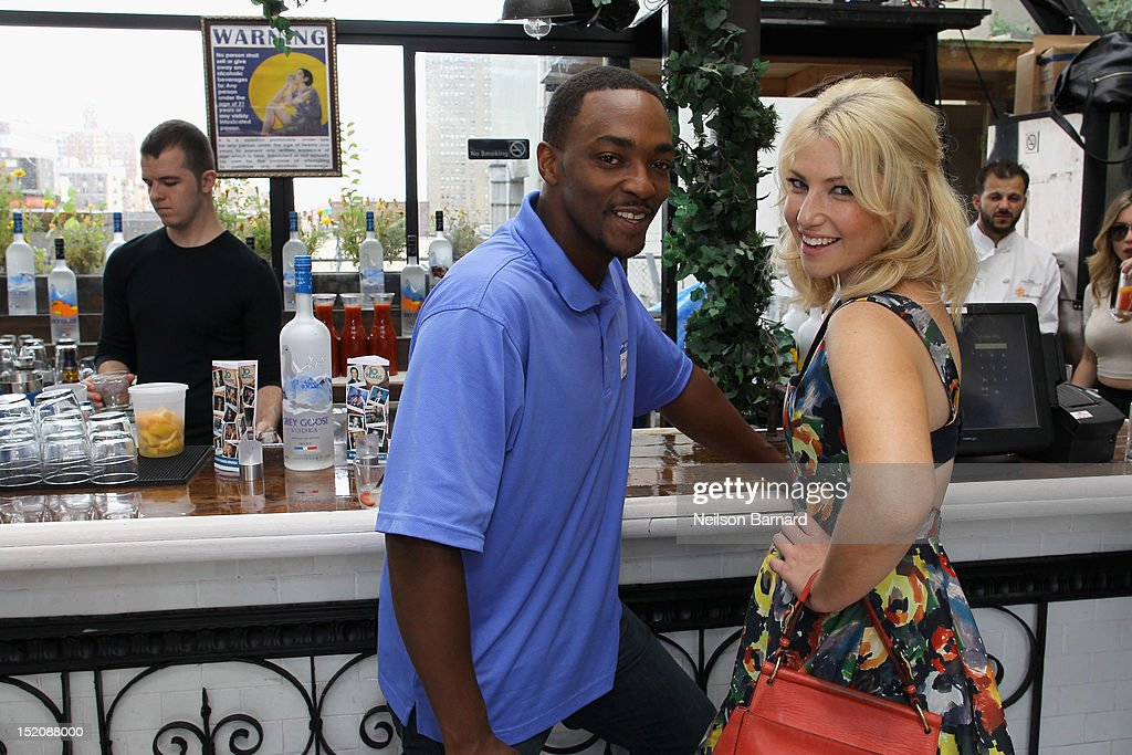 Actors Anthony Mackie (L) and Ari Graynor attend '10 Years' brunch reunion event hosted by GREY GOOSE Vodka And Anchor Bay Films at Hotel Chantelle on September 16, 2012 in New York City.