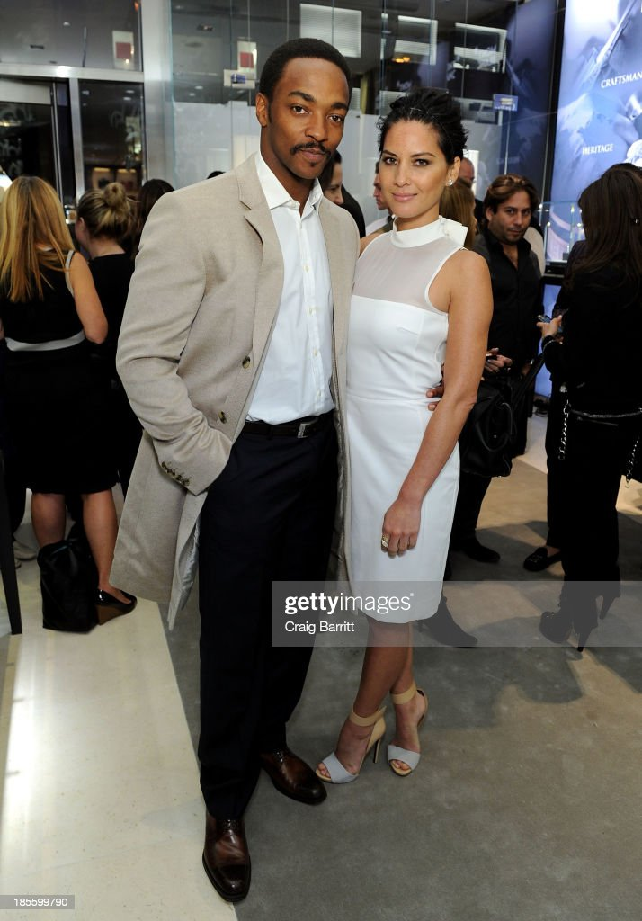 Actors <a gi-track='captionPersonalityLinkClicked' href=/galleries/search?phrase=Anthony+Mackie&family=editorial&specificpeople=206212 ng-click='$event.stopPropagation()'>Anthony Mackie</a> and <a gi-track='captionPersonalityLinkClicked' href=/galleries/search?phrase=Olivia+Munn&family=editorial&specificpeople=598969 ng-click='$event.stopPropagation()'>Olivia Munn</a> attend Montblanc celebrates Madison Avenue Boutique Opening at Montblanc Boutique on Madison Avenue on October 22, 2013 in New York City.