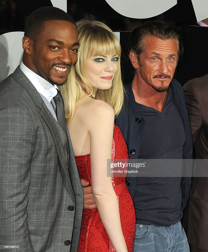 Actors <a gi-track='captionPersonalityLinkClicked' href=/galleries/search?phrase=Anthony+Mackie&family=editorial&specificpeople=206212 ng-click='$event.stopPropagation()'>Anthony Mackie</a>, <a gi-track='captionPersonalityLinkClicked' href=/galleries/search?phrase=Emma+Stone&family=editorial&specificpeople=672023 ng-click='$event.stopPropagation()'>Emma Stone</a> and <a gi-track='captionPersonalityLinkClicked' href=/galleries/search?phrase=Sean+Penn&family=editorial&specificpeople=202979 ng-click='$event.stopPropagation()'>Sean Penn</a> attend the 'Gangster Squad' Los Angeles premiere held at Grauman's Chinese Theatre on January 7, 2013 in Hollywood, California.