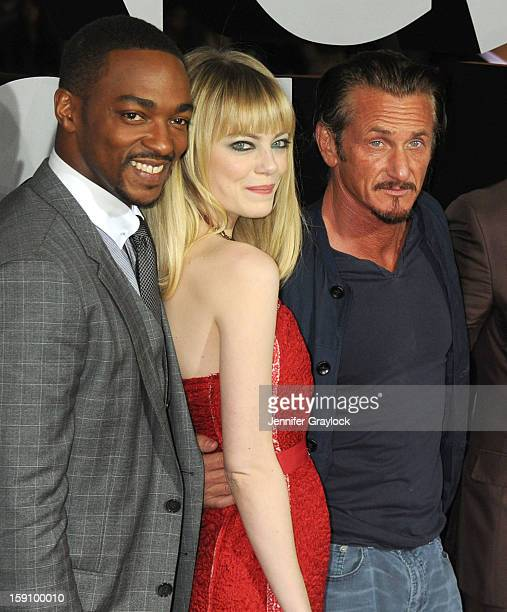 Actors Anthony Mackie Emma Stone and Sean Penn attend the 'Gangster Squad' Los Angeles premiere held at Grauman's Chinese Theatre on January 7 2013...