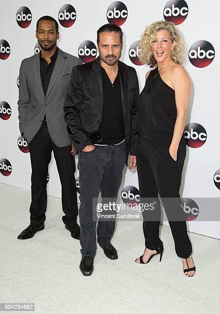 Actors Anthony Mark Maurice Benard and Laura Wright attend the 2016 Winter TCA Tour Disney/ABC at Langham Hotel on January 9 2016 in Pasadena...