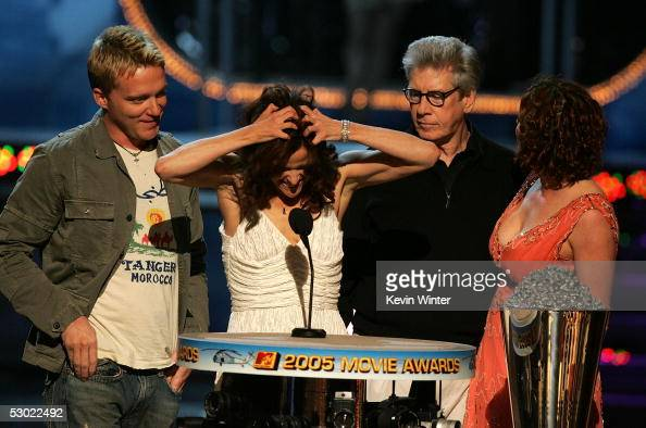 Actors Anthony Michael Hall Ally Sheedy Paul Gleason and Molly Ringwald accept the Silver Bucket of Excellence Award for The Breakfast Club onstage...