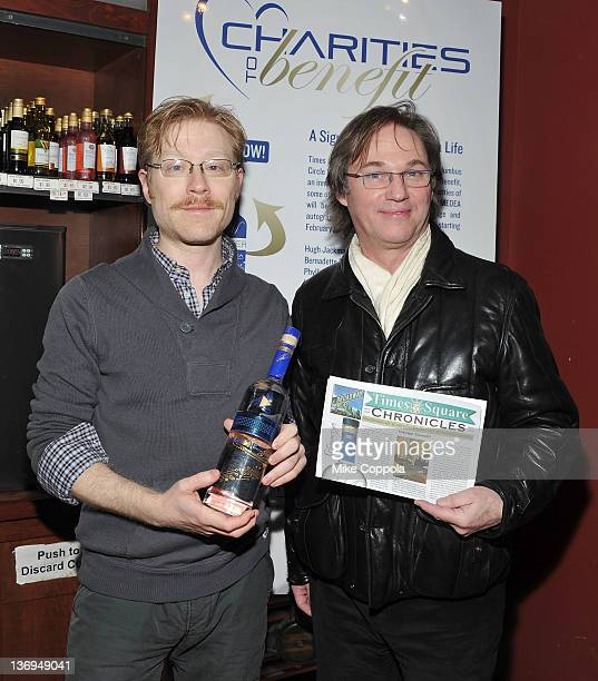 Actors Anthony Rapp and Richard Thomas attend the unveiling of the Medea Vodka bottles for Charities to Benefit at Columbus Wines Spirits on January...