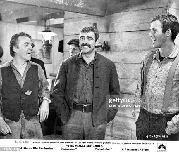 Actors Anthony Zerbe Sean Connery and Anthony Costello on set of the Paramount Pictures movie 'The Molly Maguires' in 1970