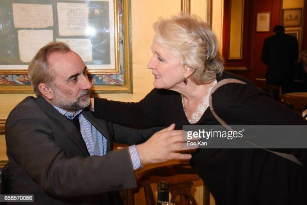 Actors Antoine Dulery and Marie Christine Barrault attend 'Journees du Livre et du Vin 2017' Jury Deliberation Lunch at Le Procope on March 27 2017...